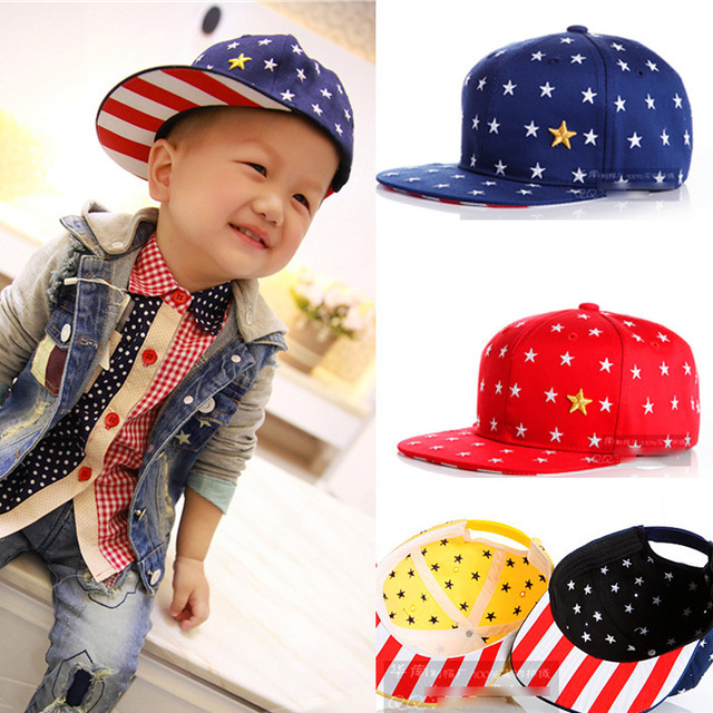 9a757e2eacc Korean stylish 7 Colors children hip hop hats five-pointed star Embroidery  boys girls canvas sport snapback baseball cap