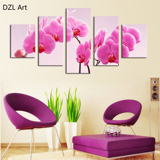 5 Panel Pink butterfly orchid flowers canvas painting Modern Home ...