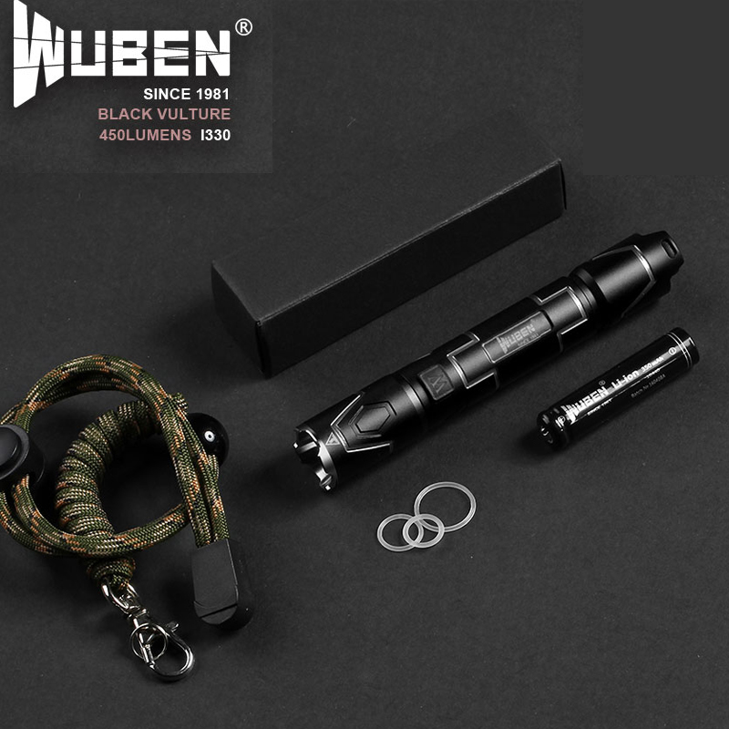 Waterproof Wuben 1330 USB Rechargeable CREE XPL-V5 450 Lumens mini Tactical torch LED Flashlight by Battery Outdoor Camping lamp