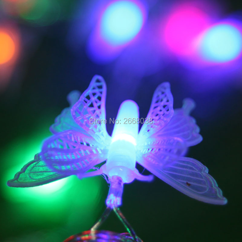 font b String b font Lights Outdoor 16ft 40LED Butterfly Multicolor Waterproof Fairy Blossom Flower