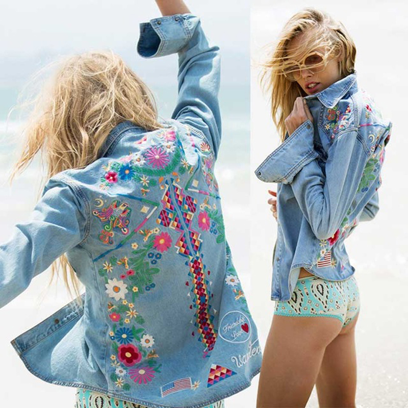 denim jacket chic Floral Embroidery cotton spring autumn Jacket long sleeve turn down collar coats Jacket