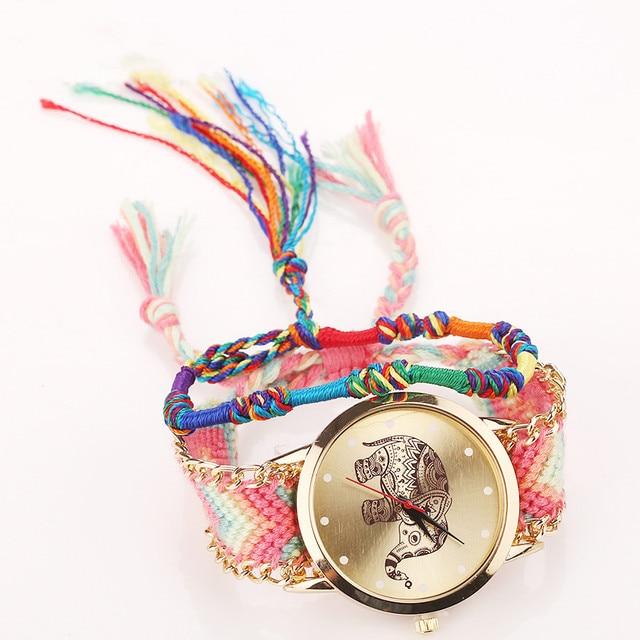 Vansvar Dropshipping Handmade Braided Dreamcatcher Friendship Bracelet Watch Lad