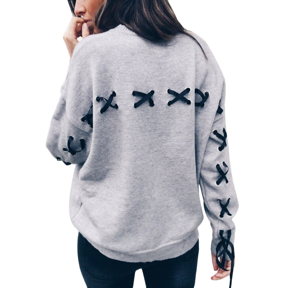 Women Casual Lace Up Long Sleeve Hoodies Loose Jumper Tops shirt