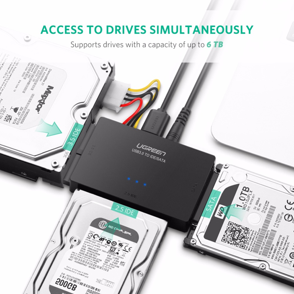 cheapest Ugreen SATA to USB IDE Adapter USB 3 0 2 0 Sata 3 Cable for 2 5 3 5 Hard Disk Drive HDD SSD USB Converter IDE SATA Adapter