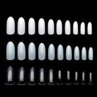 Nail Tips 100pcs Clear/Natural/White Ultrathin False Nails Acrylic Oval Full Cover Detachable Nails Rrubber Fake Nails JZJ3014
