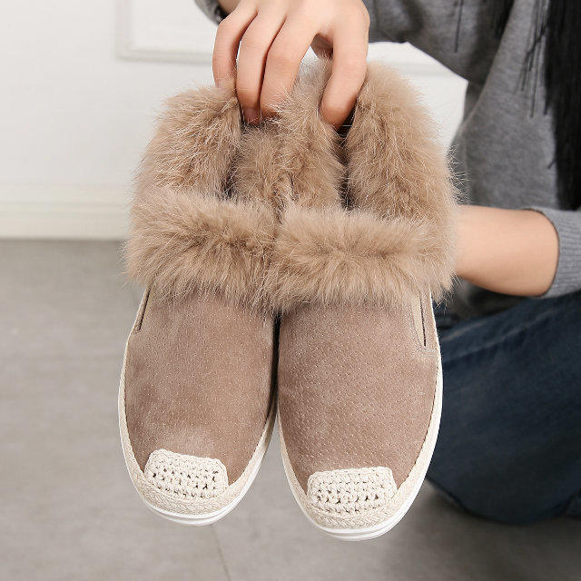 ФОТО Women Top Quality Flats Plush Fur Inside With Rabbit Hair Round Toe Shoes Genuine Leather With Famous Brand Elegant Sweet Shoes