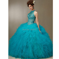 Turquoise Quinceanera Dresses Off Shoulder Bead Ruffles Tulle Quinceanera Dresses 2016 Cheap Quinceanera Gowns Debutante Gown