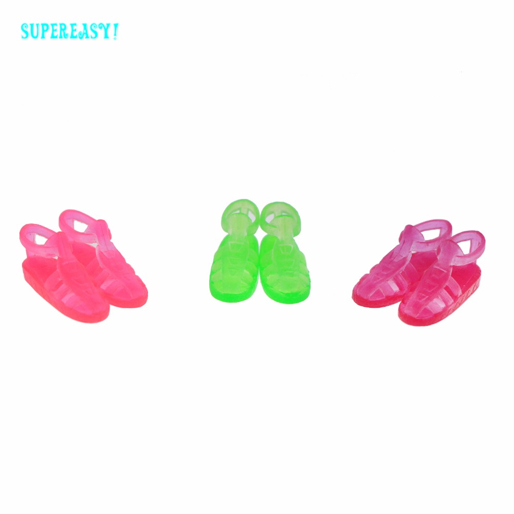 3 Pairs/Lot Fashion Modern Roman Flat Shoes Daily Casual Wear Colorful Sandals Accessories For Barbie Kurhn Doll Dollhouse Gift