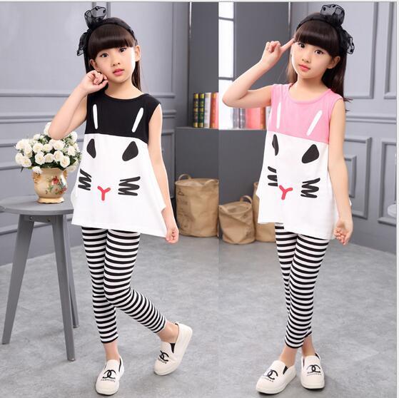 Girls Clothes 2017 New Sleeveless Baby Girl Clothing Set Pattern Cat Girls Clothing Kids Clothes Children Clothing Set