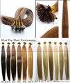 """O envio gratuito de 18 """"-28"""" 100% humano indiano cabelo remy Pré-Ligado extensão do cabelo ponta plana"""