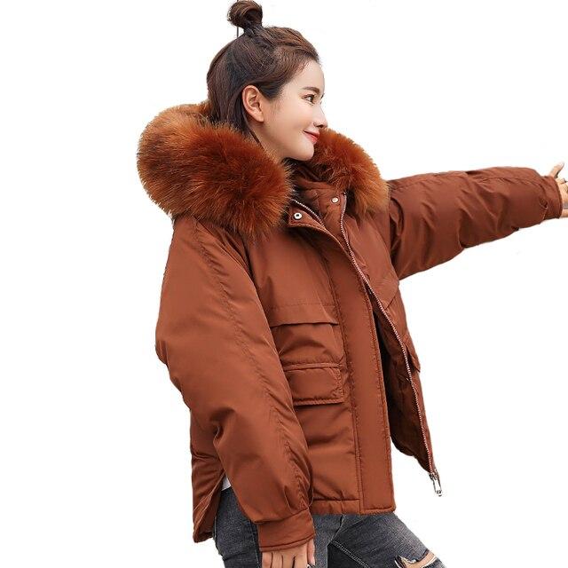3bec3cbf054f Fluffy Big Fur Collar Hooded Winter Jacket Women 2018 Harajuku Casual Plus  Size Short Winter Coat Women Down Cotton Parkas MY749