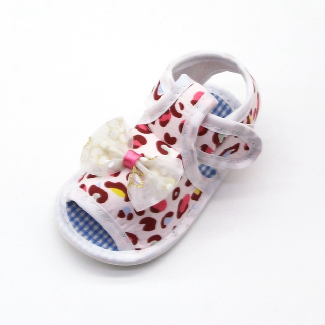 2019 Infant toddler sandals solid color bow cotton shoes leopard print sandals baby toddler shoes for 0-18M 2