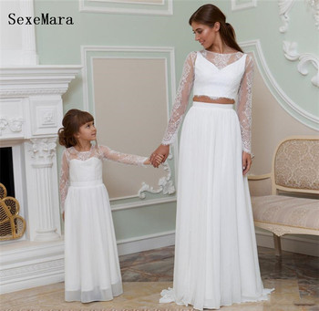 New White Lace Girls Dresses Long Sleeves O Neck A Line Modern Mother and Daughter Dress for Wedding Girls Formal Wear Size2-14Y
