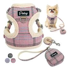 Мягкий жилет для собак, регулируемый ошейник для чихуахуа, щенка, кота, набор поводков для маленьких средних собак, пальто Arnes Perro