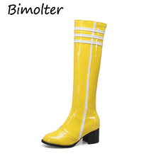 все цены на Bimolter Fashion Knee High Patent Leather Boots Female Winter Warm Zipper Boots Sexy Ladies High Square Heel Long Boots PAEA032 онлайн