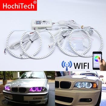 Wifi Wireless RGB Multi-Color LED Angel Eye Halo Rings Day Light DRL for BMW E36 E38 E39 E46 projector