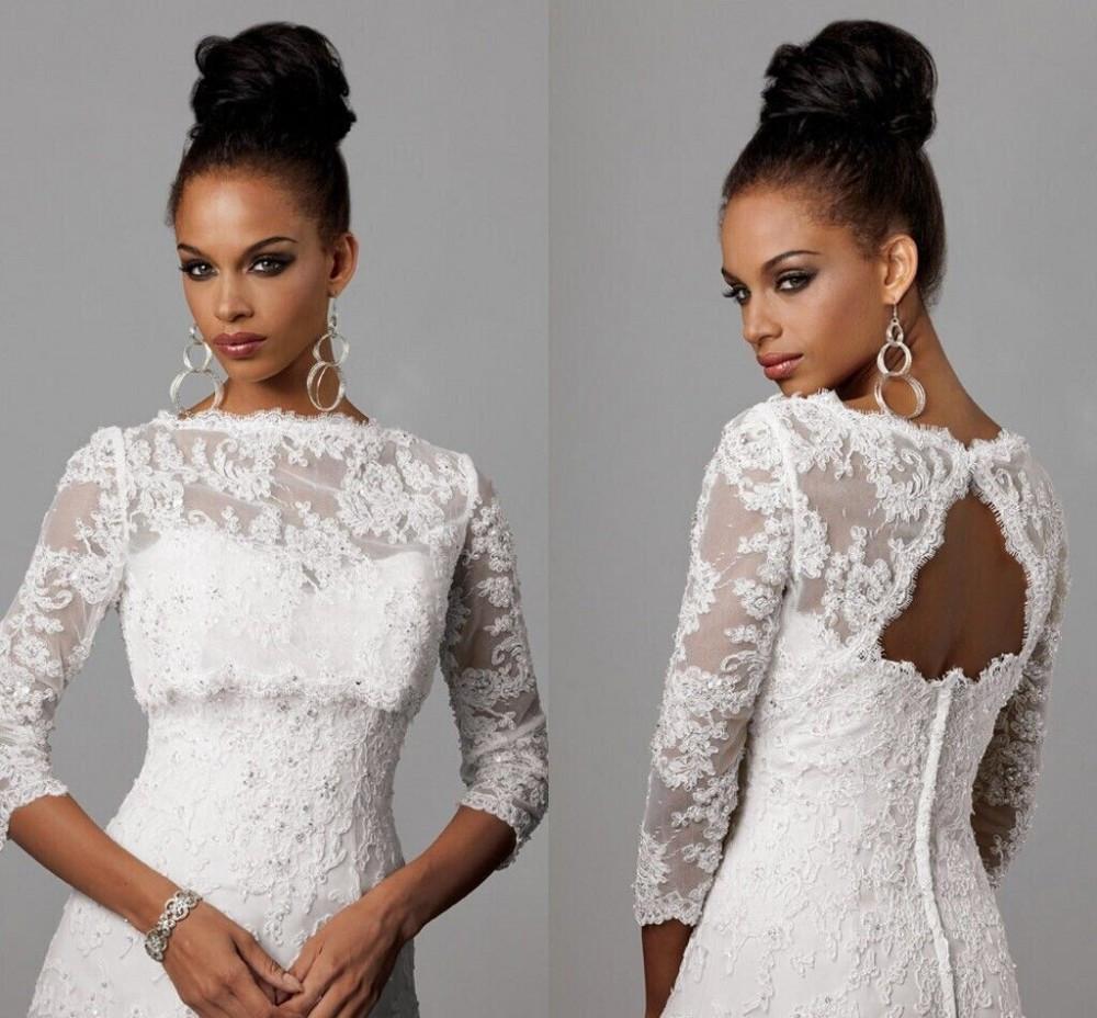 Women wedding shawl bridal long sleeve white lace bolero for Lace shrugs for wedding dresses