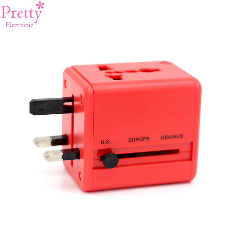 Pretty Electronic international Travel Adapter All-in-one red Power Universal Adapter Wall Charger for CN/UK/EU/AU/Asia Phone