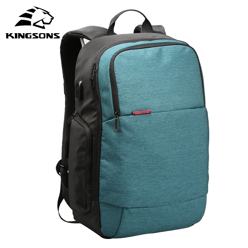 Kingsons Men Women Brand External USB Charge Laptop Backpack Anti-theft Notebook Computer Bag 15.6 inch for Business Mochilas