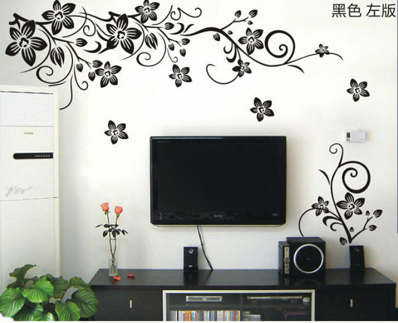 Aliexpress.com : Buy Hot Vine Wall Stickers Flower Wall Decal Removable Art  PVC Home Decor living room floral wall sticker TV backdrop decals from  Reliable ...