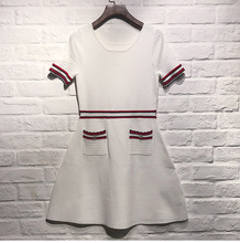 Fashion womens knitting dress 2019 Spring slim fit white knitted A019