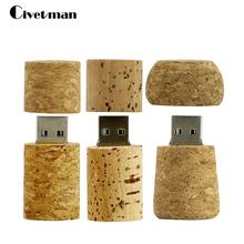 Pen Drive 64GB Plug Thumbdrive 32GB 16GB 8GB 4GB USB 2.0 Natural Wood Wine Corks Shape Usb Flash Drive Memory Sticks Pendrive