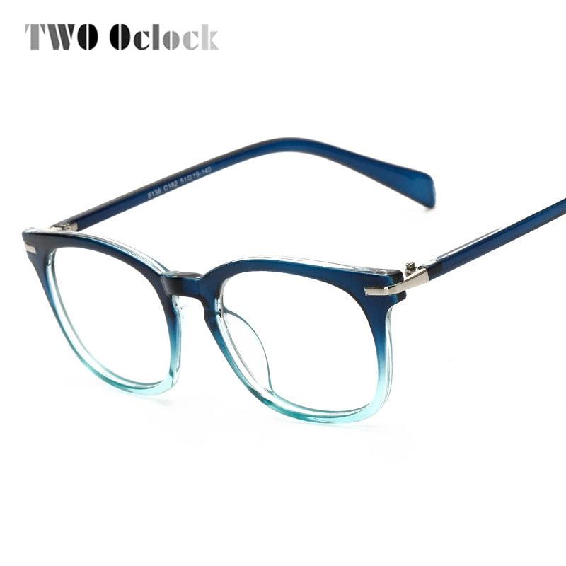 150f43e5665 TWO Oclock Retro Square Transparent Glasses Frame With Clear Lens Vintage  Big Optical Frames Myopia Prescription Oculos 8136
