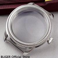 Caja de reloj de acero inoxidable pulido de 44MM con bisel para monedas compatible con cuerda manual ETA 6497 6498 C6