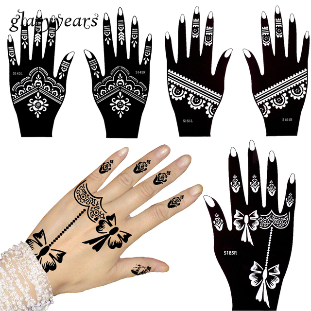 Glaryyears 3 pares hueco Henna tatuaje stencil flor dibujo coloreado ...