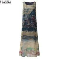 M 5XL ZANZEA Boho Womens O Neck Floral Printed Sleeveless Split Summer Beach Long Dress Ladies
