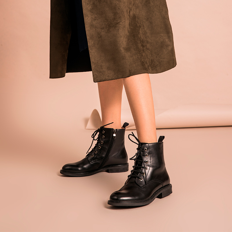 BeauToday Ankle Boots Women Calfskin Cross Tied Side Zipper Top Brand Genuine Leather Fashion Lady Shoes Handmade 03098-in Ankle Boots from Shoes    3