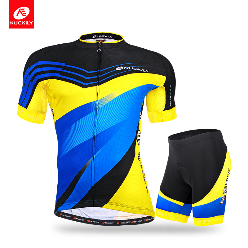NUCKILY Summer Short Sleeve Bike Jersey High Quality Professional Cycling Shirt and Short Suit For Men  MA015MB015 nuckily ma008 mb008 men short sleeve bicycle cycling suit
