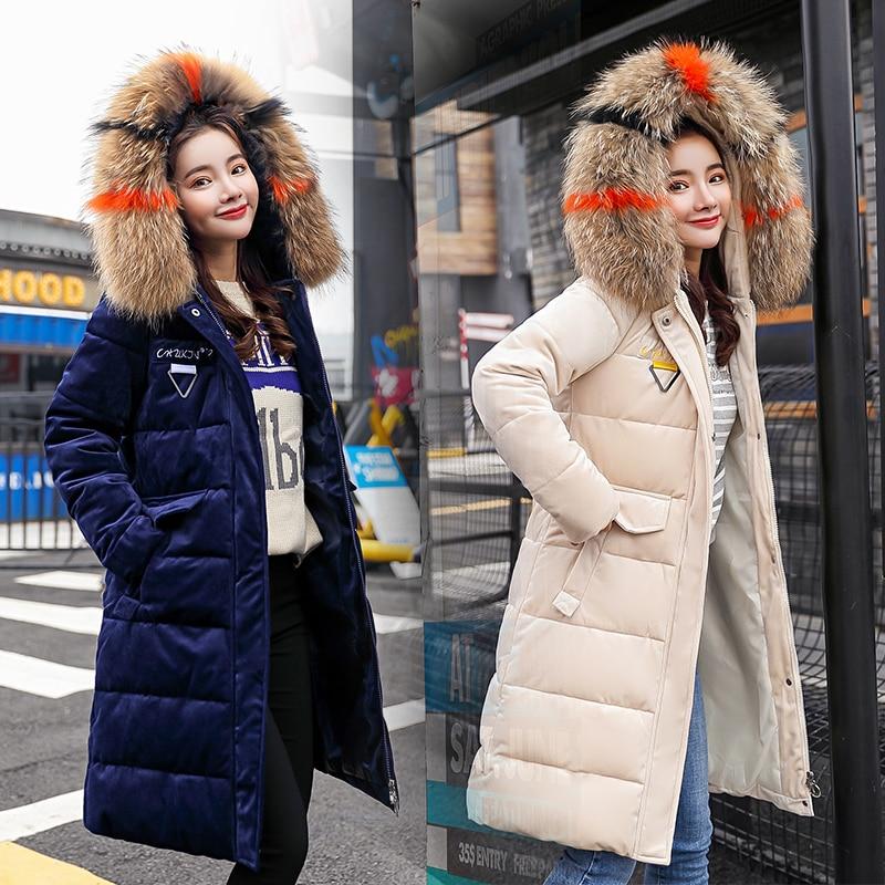 Hiver Long veste manteau femmes velours doux chaud épais Parkas manteau grand col de fourrure à capuche veste zippée grande taille M-3XL
