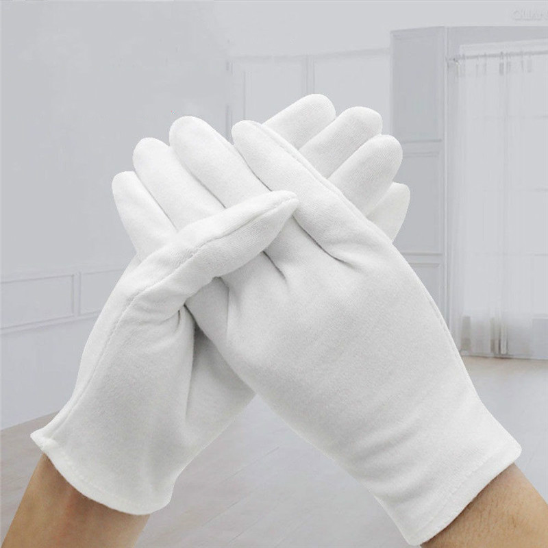 6Pairs White Coin Jewelry Silver Inspection Cotton Gloves Size S M L XL