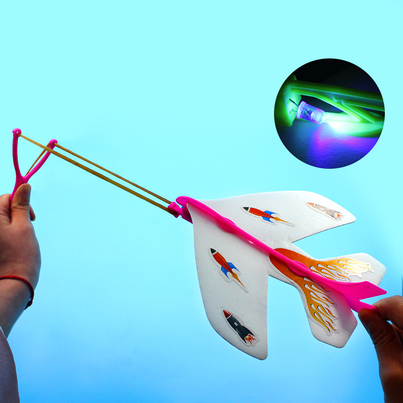 Catapult Plane Hand Launch Throwing Airplane Inertial Foam Glider Aircraft Toy Plane Model Outdoor Toys With Light