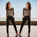 Sexy Overalls for women Jumpsuits 2017 Long Sleeve Leopard Backless Clubwear With Pocket Party Club Romper Europe And America