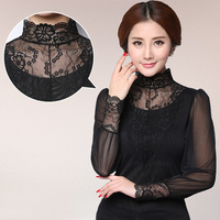 2015 New Victorian Lace High Neck Blouse Long Sleeved Black Net Yarn Stitching Shirt