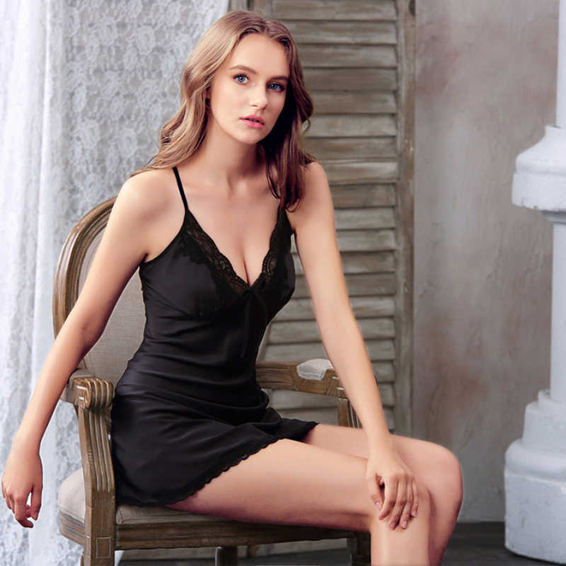 cd7c70cf6 ... NG0168 Sexy Women Nightgown Spaghetti Strap Lace Trim Lingerie Nightie  Satin Silk Backless Nightdress Lady Short ...