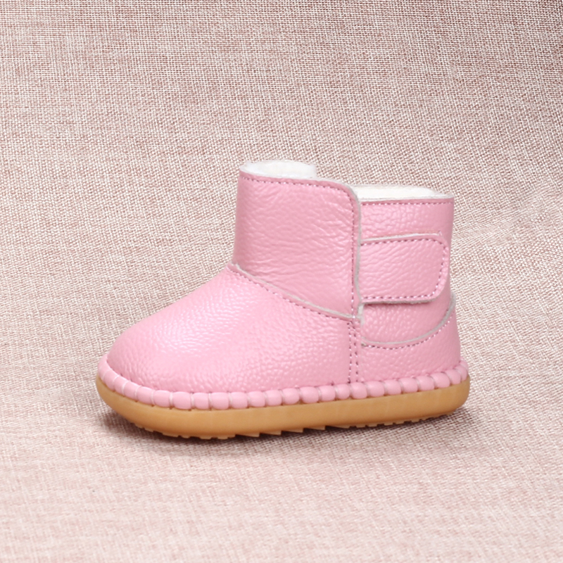 2017 Winter Kids Snow Boots Soft Cow Muscle Sole Toddler Shoes 0-1-2-3 Years Old Baby Shoes Genuine Leather Children Shoes