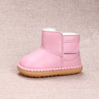 2016 Winter Kids Snow Boots Soft Cow Muscle Sole Toddler Shoes 0 1 2 3 Years