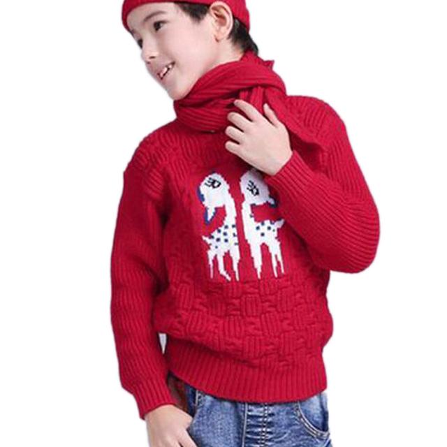 Invierno 2017 Niños de la Navidad del Suéter Del Otoño Del Resorte Niñas Niños prendas de Vestir Exteriores Suéteres De Moda Suéteres de Cuello de Tortuga de la Muchacha