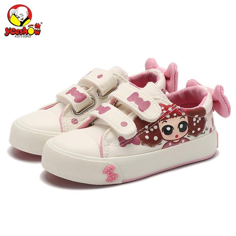 Canvas Barnskor 2019 Nya Baby Girls Princess Shoes Brand Kids Sneakers för Girls Denim Child Flat Toddler Shoes