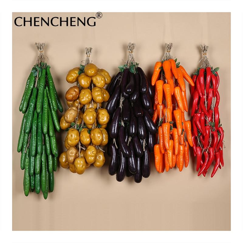 Искусственные овощи цветы Чили картофель Баклажан чеснок Кукуруза огурец помидоры поддельные пузырь украшения дома кулон CHENCHENG