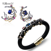New earrings/bracelets sets luxury bangles copper Multi Blue cubic zirconia 2pcs jewelry sets for women Black Party accessories