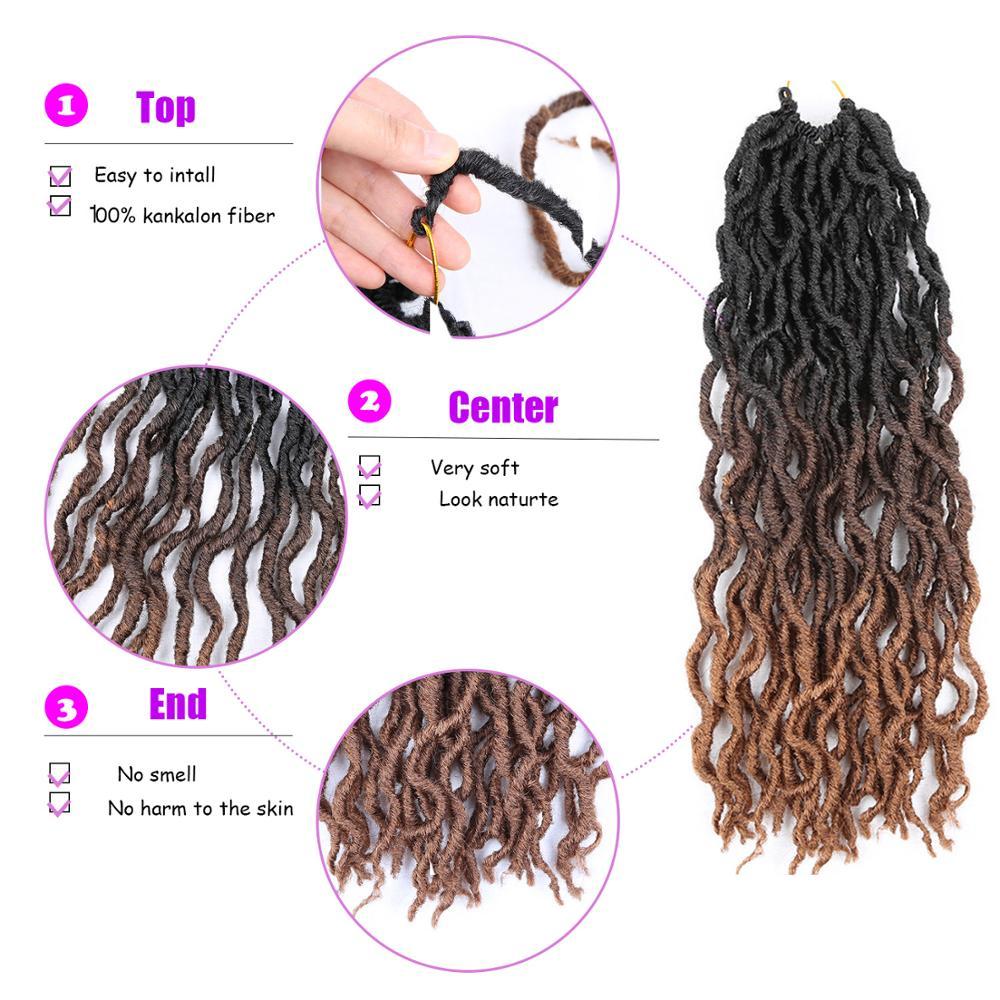 Ombre Faux Locs Curly Crochet Braids Eunice Hair 20 39 39 Long Soft Dreadlocks Hair Extensions Synthetic Braiding Hair Dropshipping