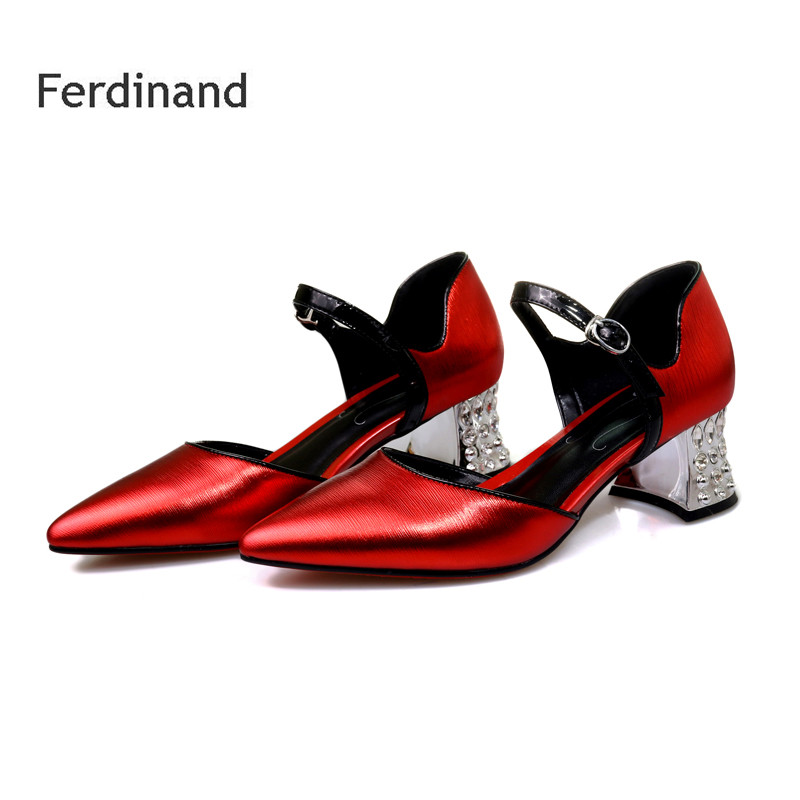 Women Summer Pumps Genuine leather high heel shoes Pointed toe Square heel Buckle Women Casual sandals Crystal Fashion shoes xiaying smile summer new woman sandals platform women pumps buckle strap high square heel fashion casual flock lady women shoes