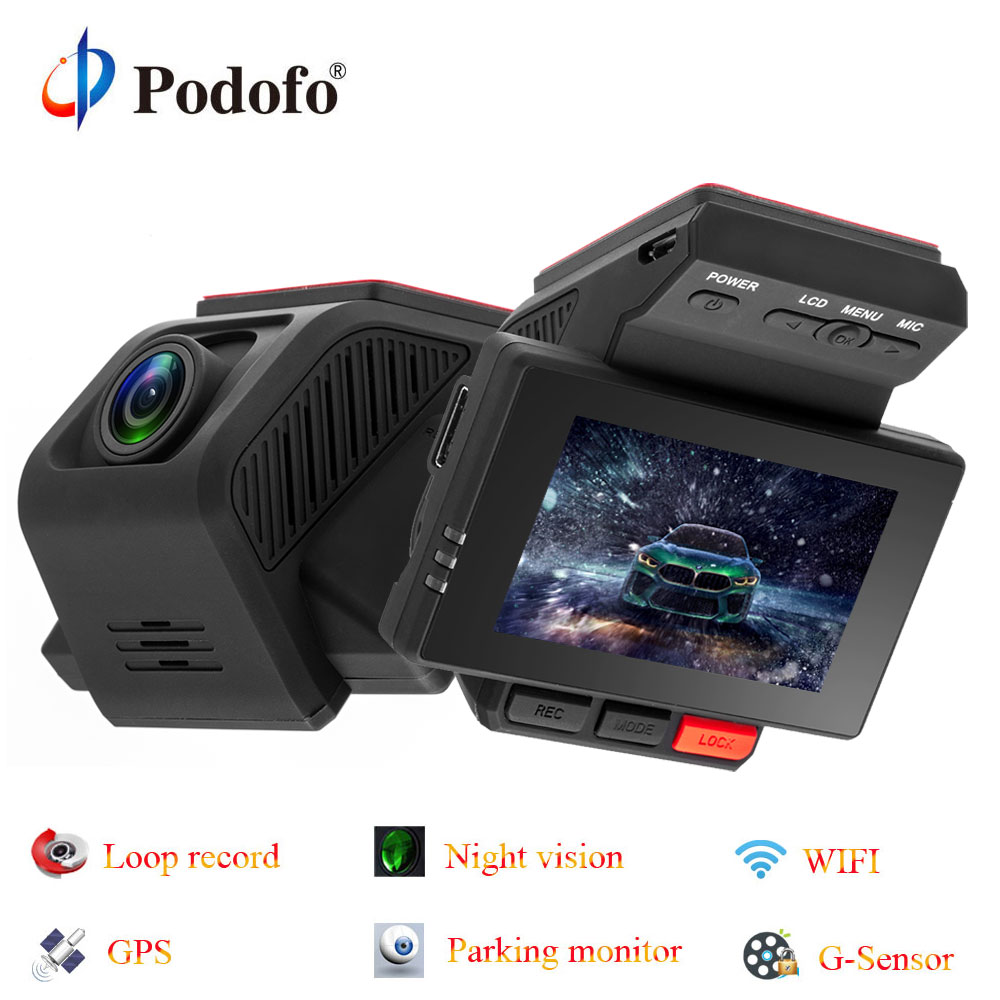 Podofo 2.45'' Car DVR GPS Novatek Video Recorder Camera FHD 1080p Parking Monitoring 170 Wide-angle Wifi G-Sensor WDR Car Dvrs bigbigroad for nissan qashqai car wifi dvr driving video recorder novatek 96655 car black box g sensor dash cam night vision