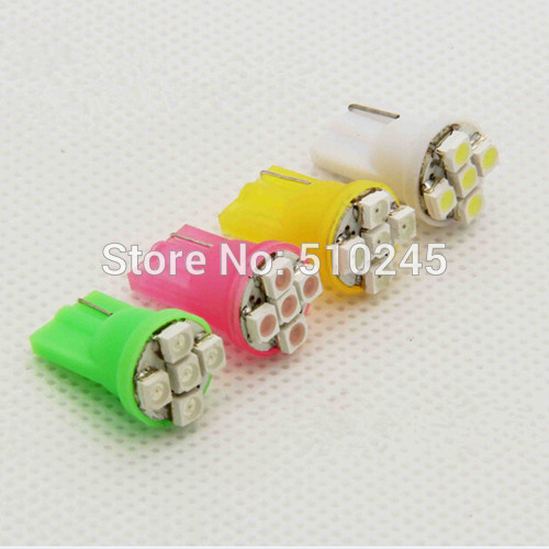 100X Auto LED T10 194 W5W 5 led smd 3528 Wedge led Light Bulb Lamp 12V 5 SMD White blue red yellow green free shipping