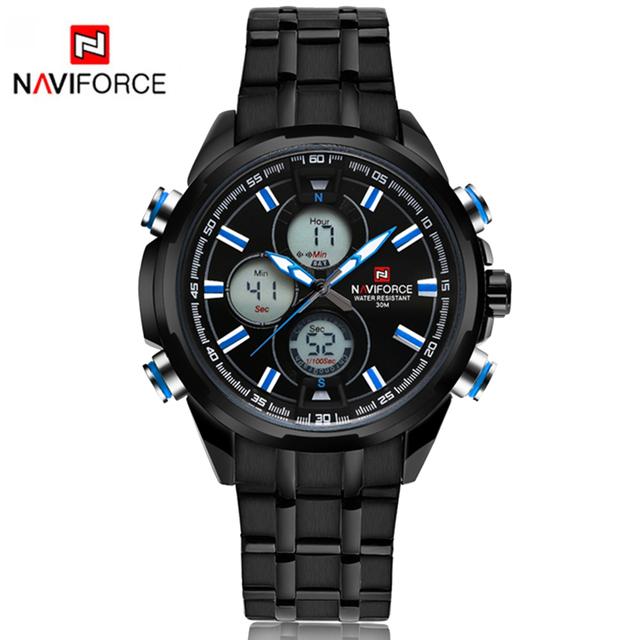 Naviforce deporte negocio hombres reloj led digital analógico reloj de pulsera militar marca de lujo relogio masculino impermeable reloj lx29