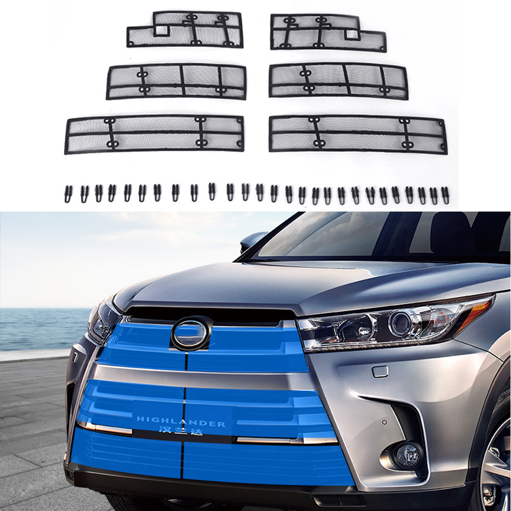 6PCS Car Insect Screening Mesh Front Grille Insert Net For Toyota Highlander Kluger 2017 2018 Accessories mesh insert applique shirt